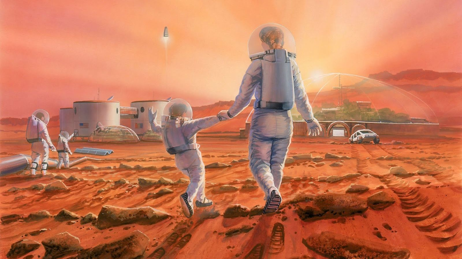 A family frolics on the surface of Mars in an illustration.