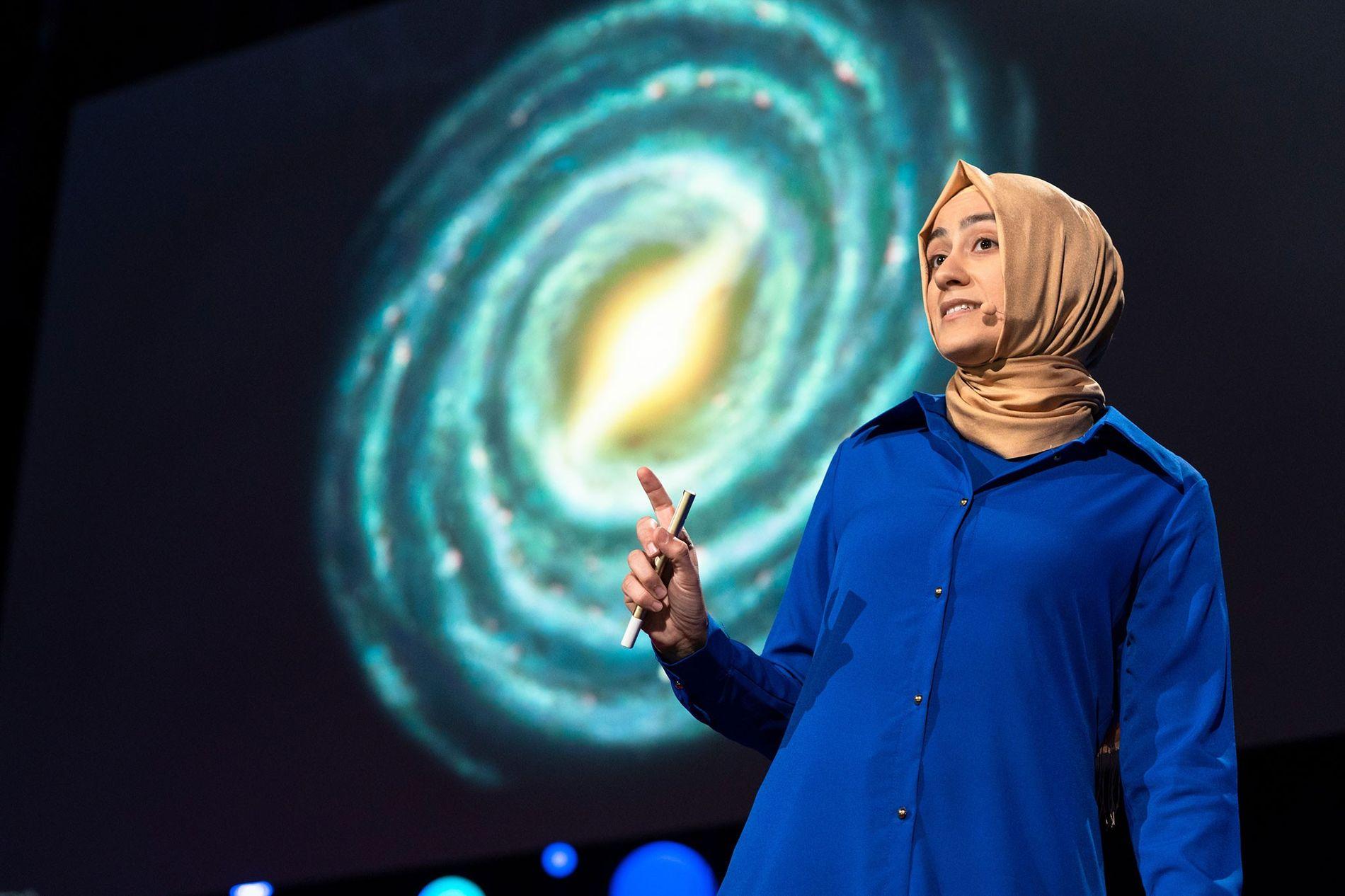 Astrophysicist Burçin Mutlu-Pakdil speaks during the TED2018 event in Vancouver, Canada.