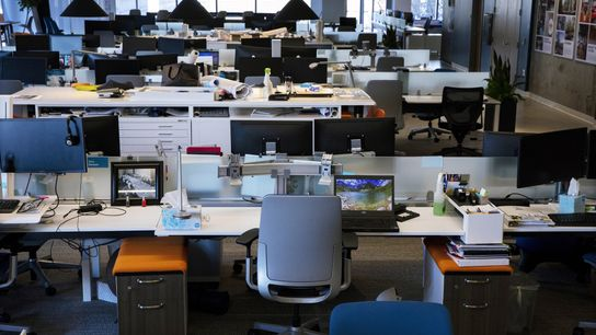 """Desks are arranged lined up side by side, or """"benching,"""" in the Seattle office of B+H ..."""