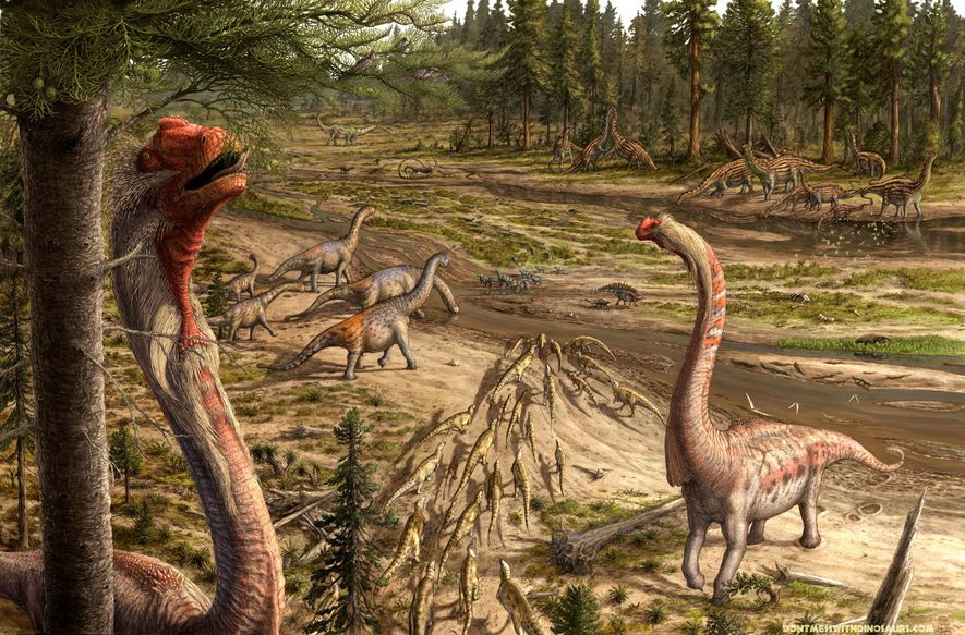 """""""A Brachiosaur's Eye View""""  In this Jurassic scene from about 150 million years ago, U.S. ..."""