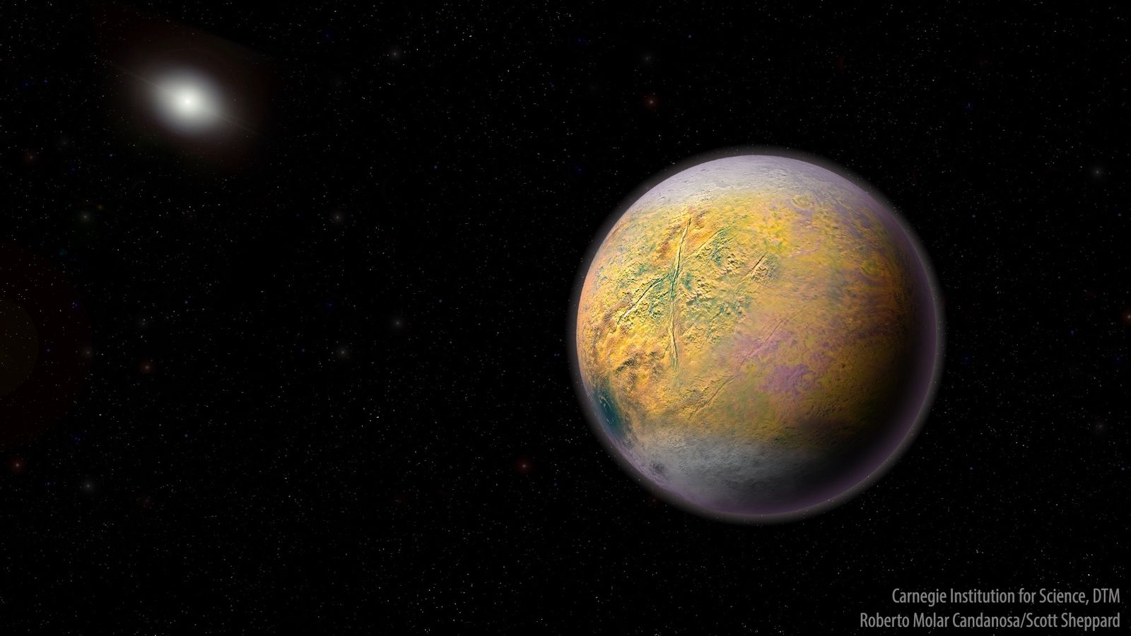 An illustration of Planet X, an as-yet unseen world that could be shaping the orbits of ...