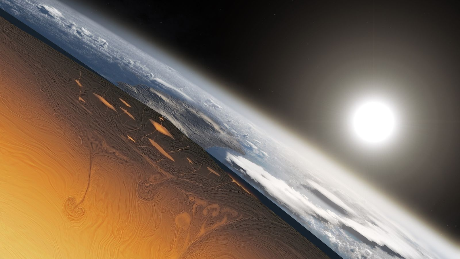 This illustration shows what a slice through the Earth may have looked like more than 3 ...