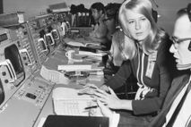 Engineer Poppy Northcutt speaks with a colleague inside NASA mission control in Houston, Texas, in 1969.