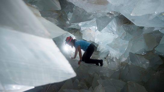 Geologist Milagros Carretero maneuvers through the gigantic Pulpí Geode in Spain in August 2019.