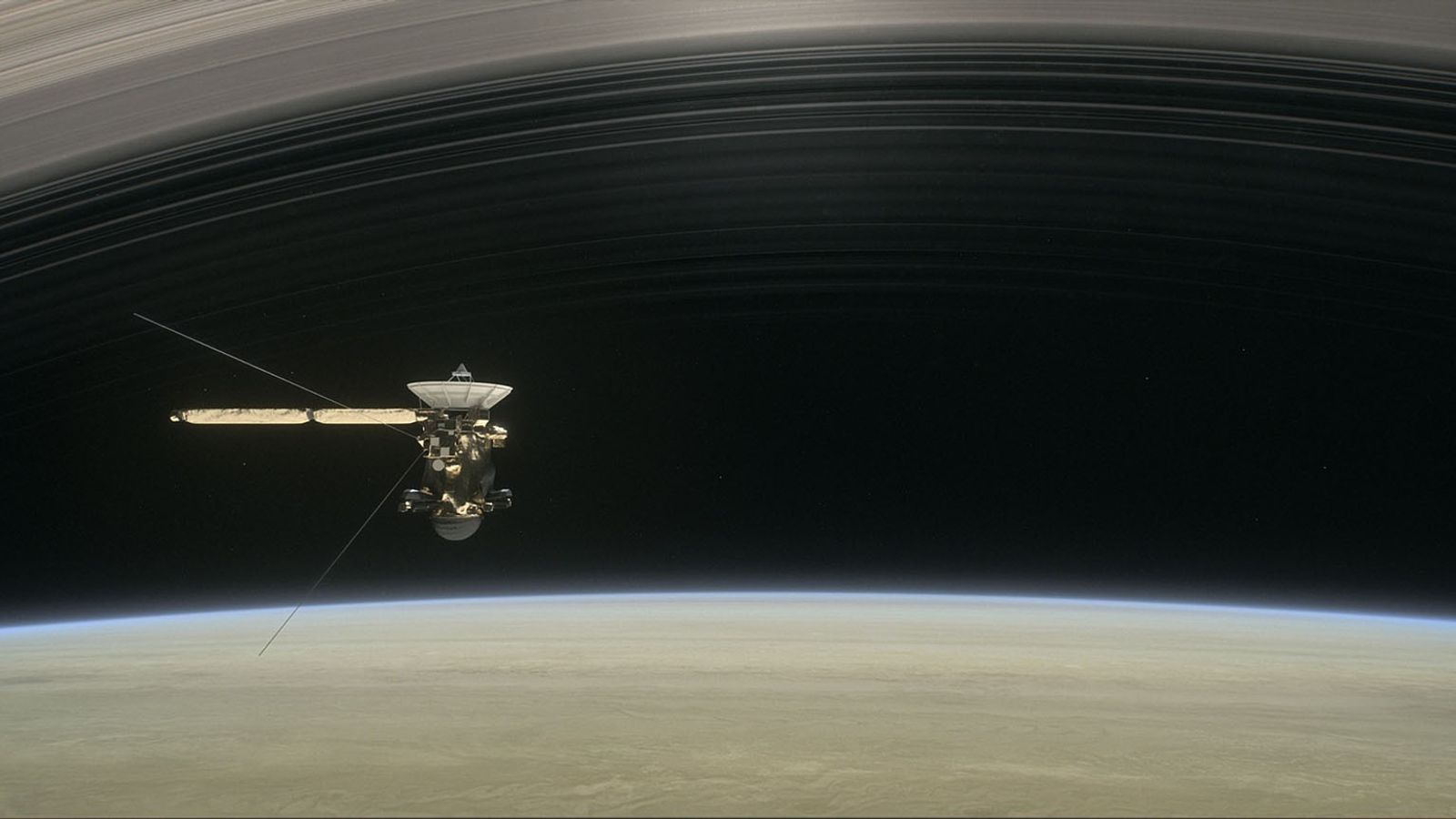 The Cassini spacecraft sails between Saturn and its rings during its final mission, in an illustration.