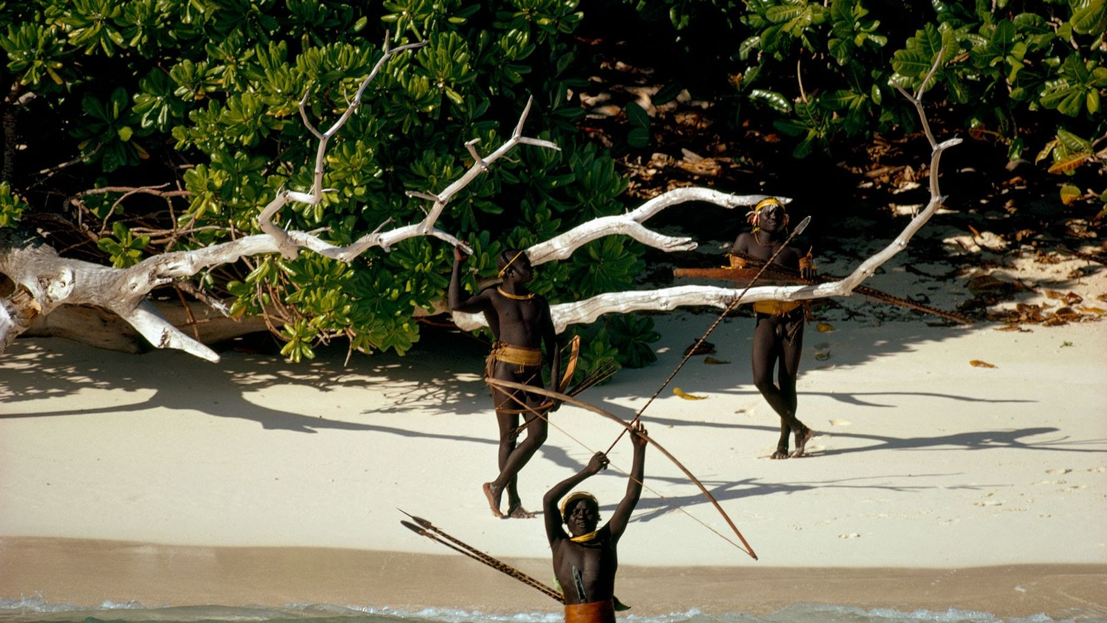 Sentinelese tribesmen on North Sentinel Island, in the Andaman archipelago, fiercely resist contact by outsiders. This ...