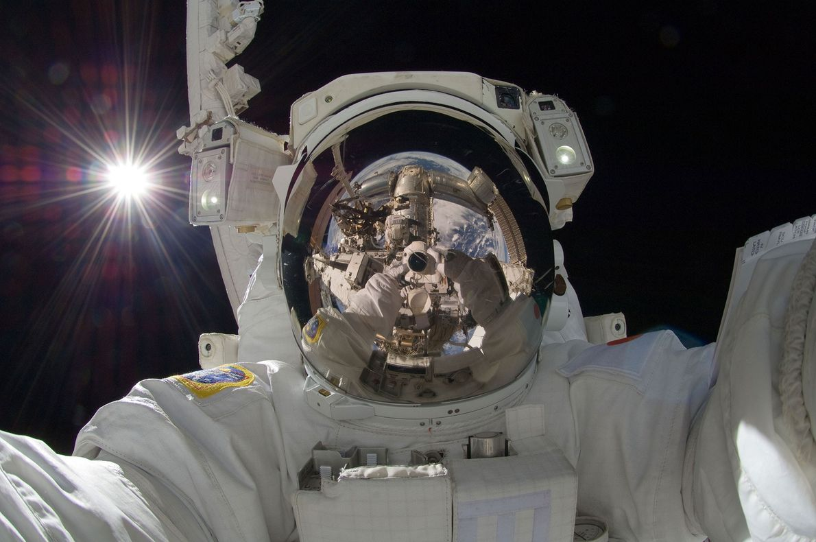 Japanese astronaut Akihiko Hoshide made this striking selfie while on the Earth-orbiting International Space Station on ...