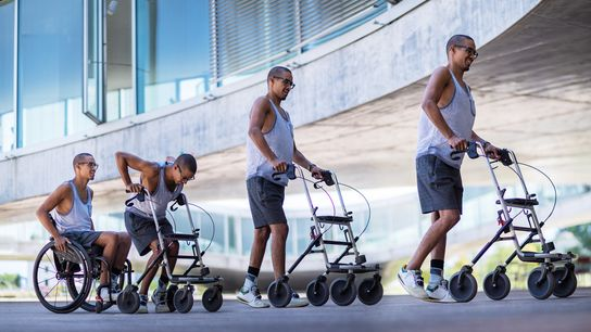 A photo composite shows patient David Mzee transitioning from a wheelchair to a walker after the ...