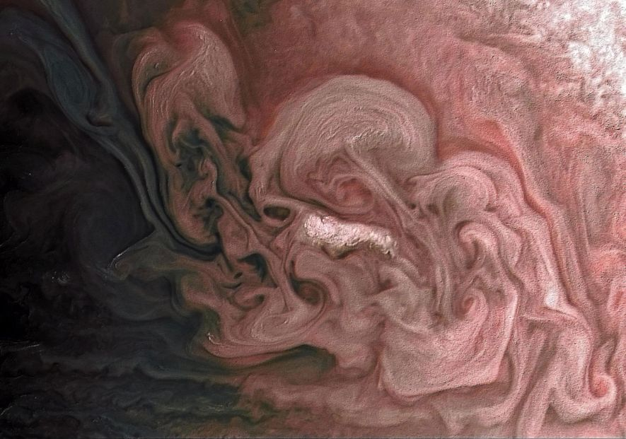 NASA's Juno spacecraft caught these stunning swirls of clouds from 7,578 miles above Jupiter. The orbiter …