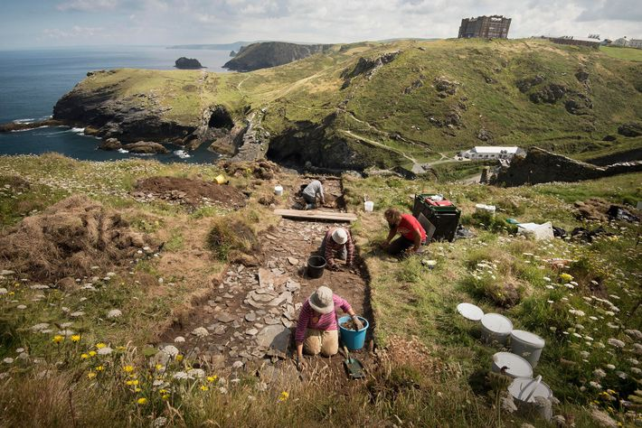 Archaeologists excavate the remains of structures built at Tintagel between the fifth and seventh centuries A.D.