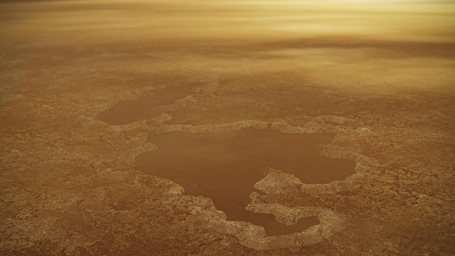 Raised rims and rampart-like features line a lake near Titan's north pole in an illustration. Careful comparisons between Earth and this icy moon of Saturn suggest that at least some of its lakes formed due to ancient explosions of underground gases.