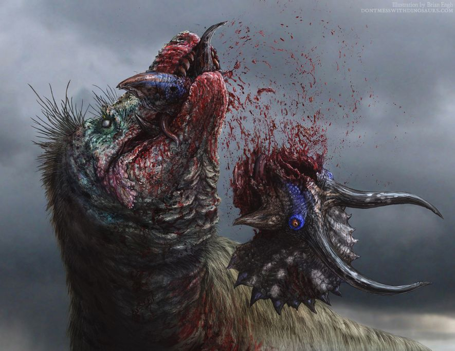 A T. rex rips apart its prey in an illustration.