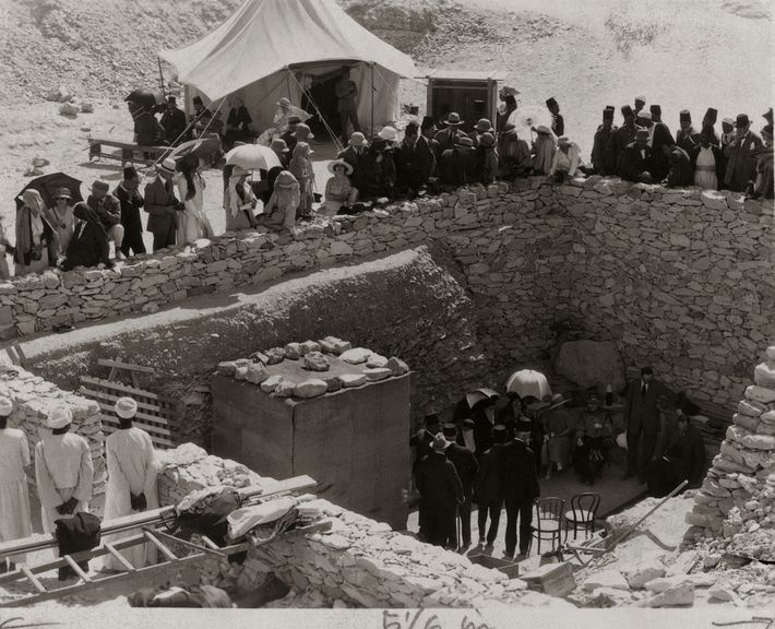 The press conference announcing the discovery of King Tut's final resting place unfolds just outside the ...