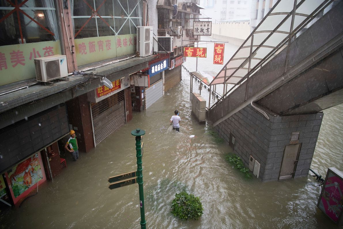 Flooding caused by the heavy rains of Typhoon Mangkhut in Macau, China. Here, twenty-thousand households have ...