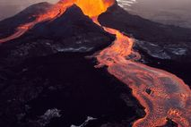Pu'u 'Ō'ō, the easternmost of Kilauea's volcanic vents, spews molten lava on the Big Island of ...