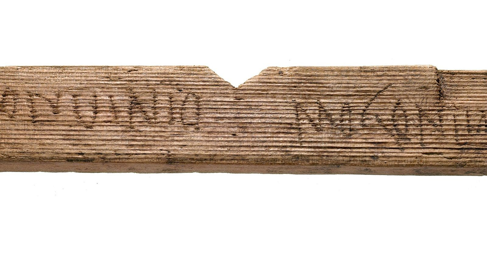 """This fragment of a wooden tablet from A.D. 65 to 80 reads """"Londinio Mogontio,"""" which translates ..."""