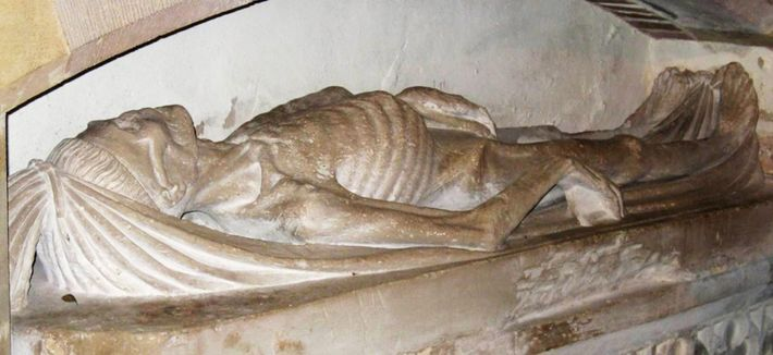 The carved cadaver of an unidentified, wealthy man resides at St. Andrew's Church in Feniton, United ...