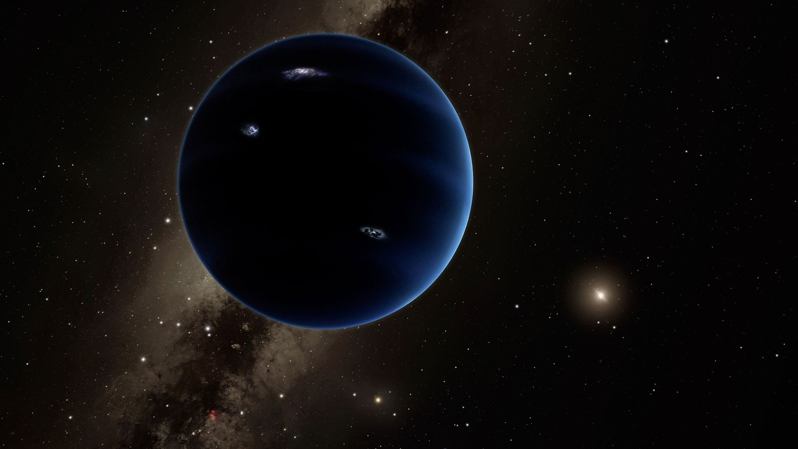 A ninth large planet may lurk deep in the outer solar system. The planet, illustrated here, ...
