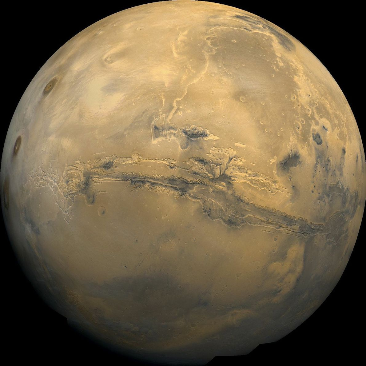 This global mosaic of Mars is centred on Valles Marineris, the solar system's largest canyon range. …