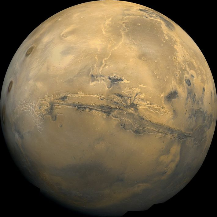 This global mosaic of Mars is centred on Valles Marineris, the solar system's largest canyon range. ...