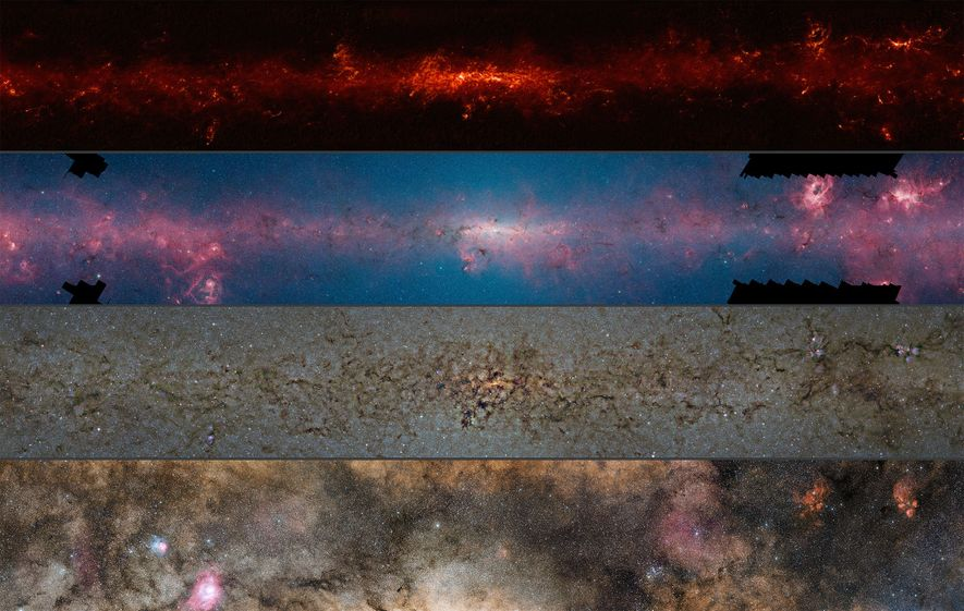 This comparison shows the central regions of the Milky Way observed at different wavelengths. In order ...