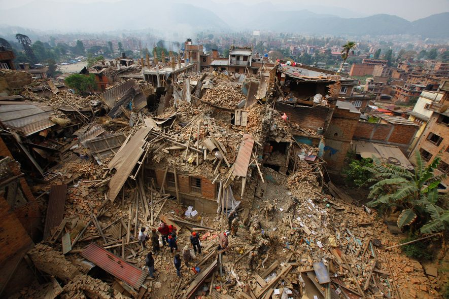 Mountains of debris have piled up in Nepal's capital. Here, rescue workers search for survivors on ...