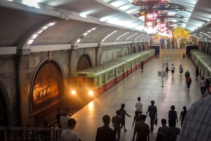 A train pulls into Puhung Station. One of the most lavishly decorated stops, Puhung was one ...