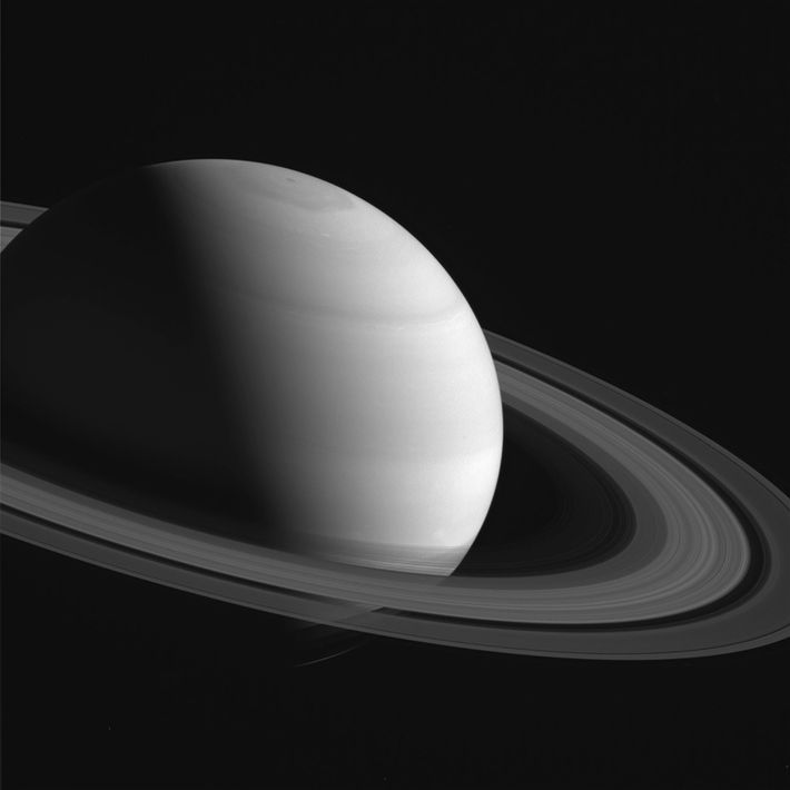 In this photograph taken in the Cassini spacecraft's 12th year orbiting Saturn, the ring shadows appear ...
