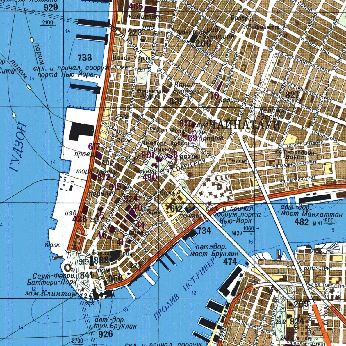 This Soviet map of lower Manhattan, printed in 1982, details ferry routes, subway stations, and bridges.
