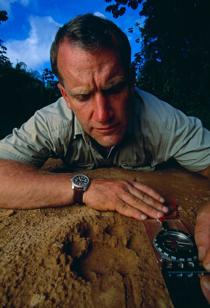 Biologist Alan Rabinowitz measuring a jaguar's pawprint. Rabinowitz is remembered as a fierce advocate and protector ...