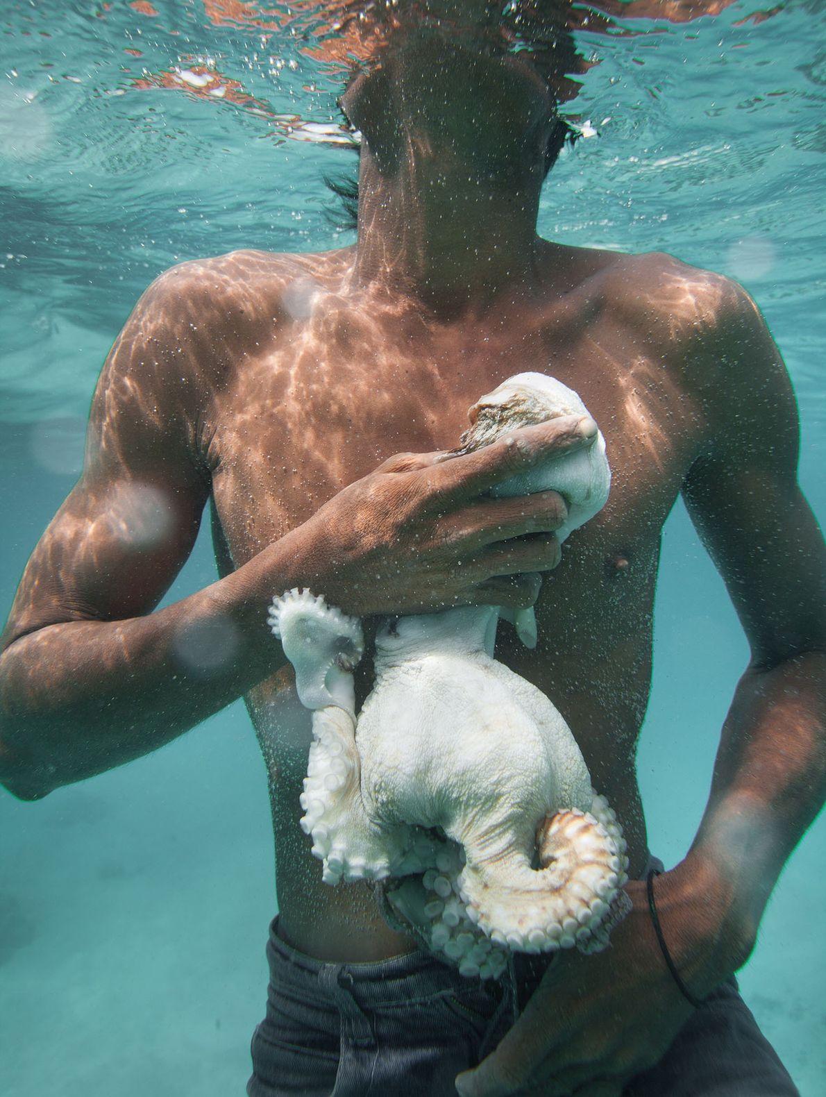A Bajau fisherman named Tarumpit catches octopus off Boheydulang Island.