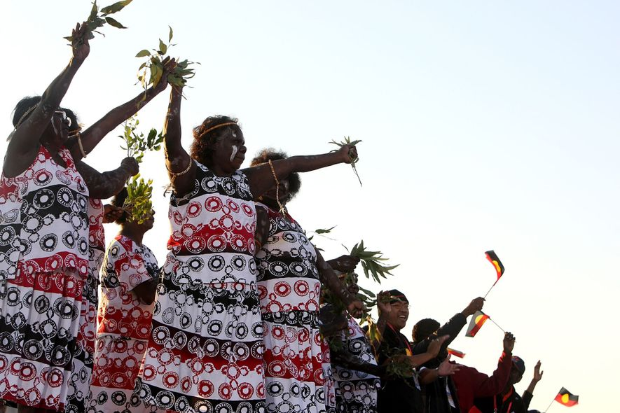 Aboriginals perform a welcoming ceremony at World Youth Day in 2008. When the British arrived in Australia, they disregarded Aboriginal rights to land and property.