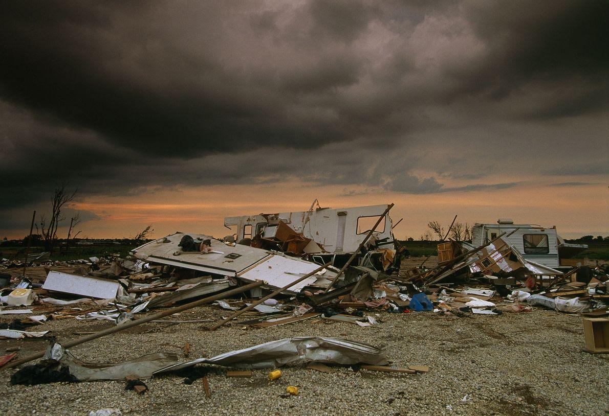 A damaged mobile home after a tornado. The interior of a big tornado can reach speeds ...