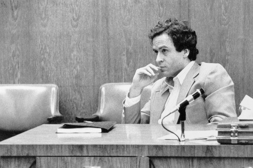 Ted Bundy watches intently during the third day of jury selection at his trial in Orlando, Florida, for the murder of 12-year-old Kimberly Leach.