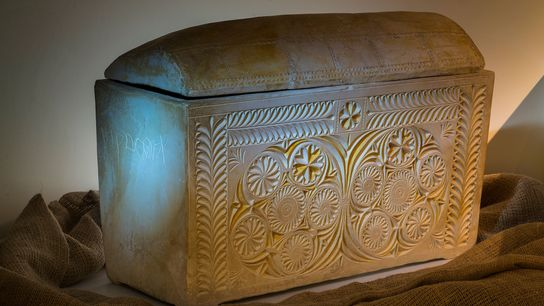 According to the inscription, this elaborate ossuary contained the bones of the high priest Caiaphas, or ...