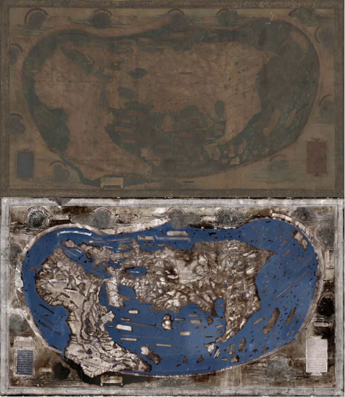 Much of the text on the 1491 map by Martellus map had faded to the point ...
