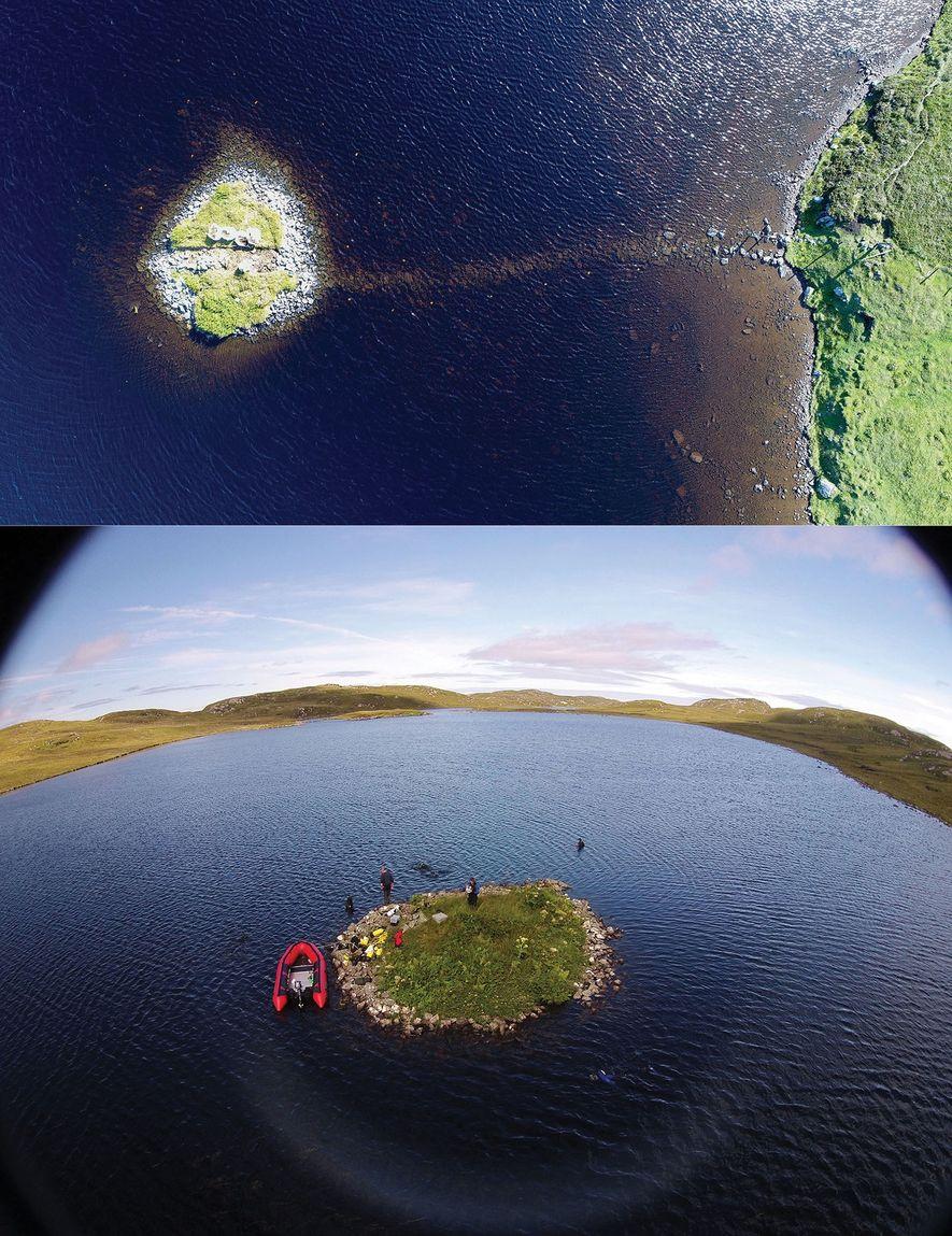 Aerial views of the crannogs in Loch Bhorgastail (top) and Loch Langabhat (bottom).