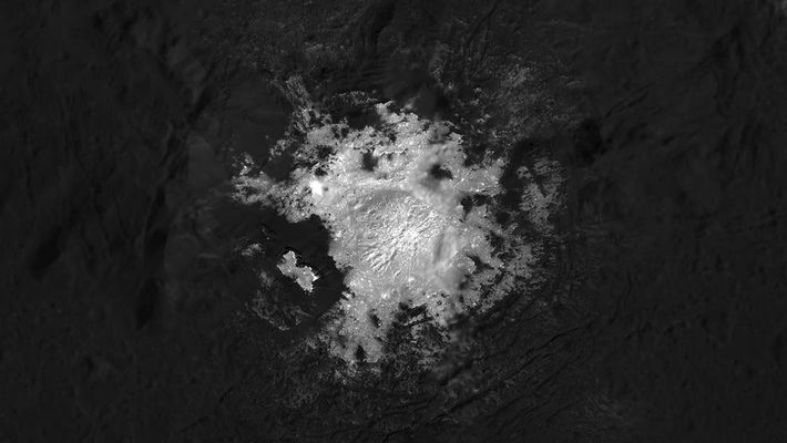 From an altitude as low as about 21 miles, Dawn snapped many images of Cerealia Facula, ...