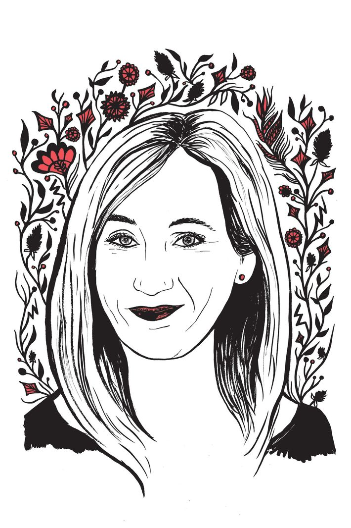 Illustration of J.K. Rowling by Kimberly Glyder for the book 'In Praise of Difficult Women'.
