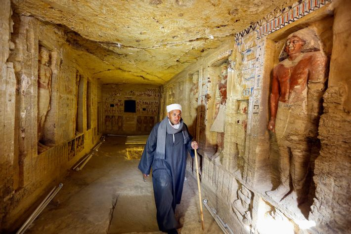 An Egyptian team, including head worker Mustafa Abdo, uncovered this finely decorated tomb of a priest.