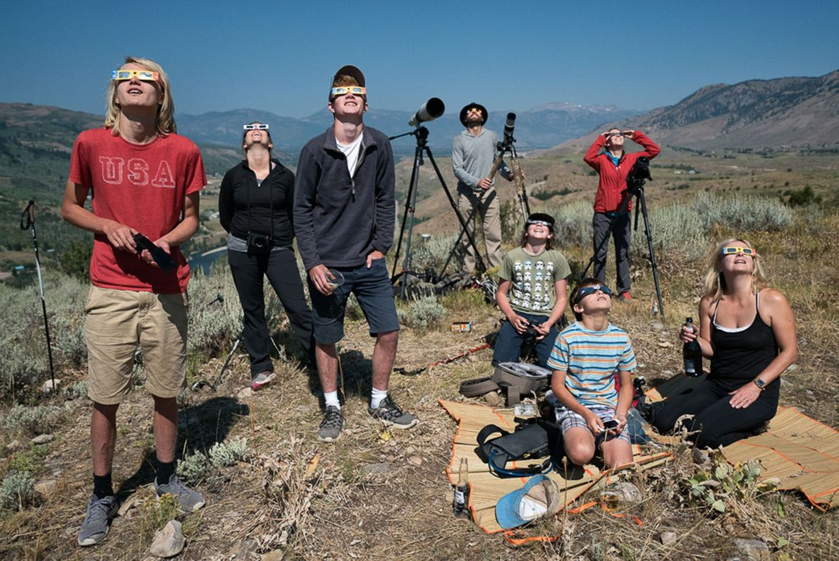 People gather to watch the eclipse just outside of Jackson, Wyoming, where totality lasted for just ...