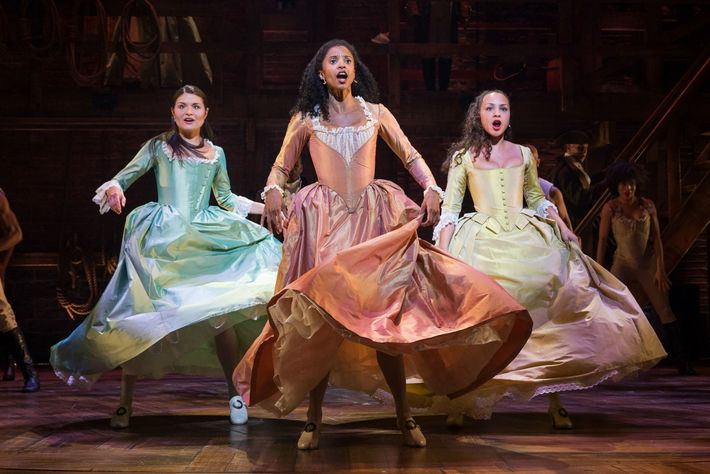 The three Schuyler sisters featured in the musical—Eliza, Angelica, and Peggy respectively played left to right ...