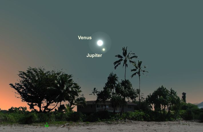 Look for a close pairing of Venus and Jupiter on January 22.