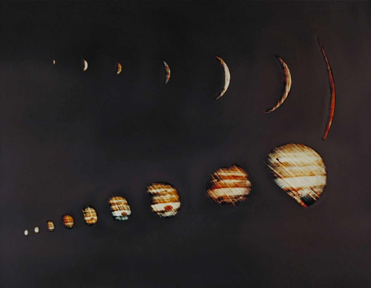 NASA's Pioneer 10 spacecraft sent back these images of Jupiter from its flyby in 1973.