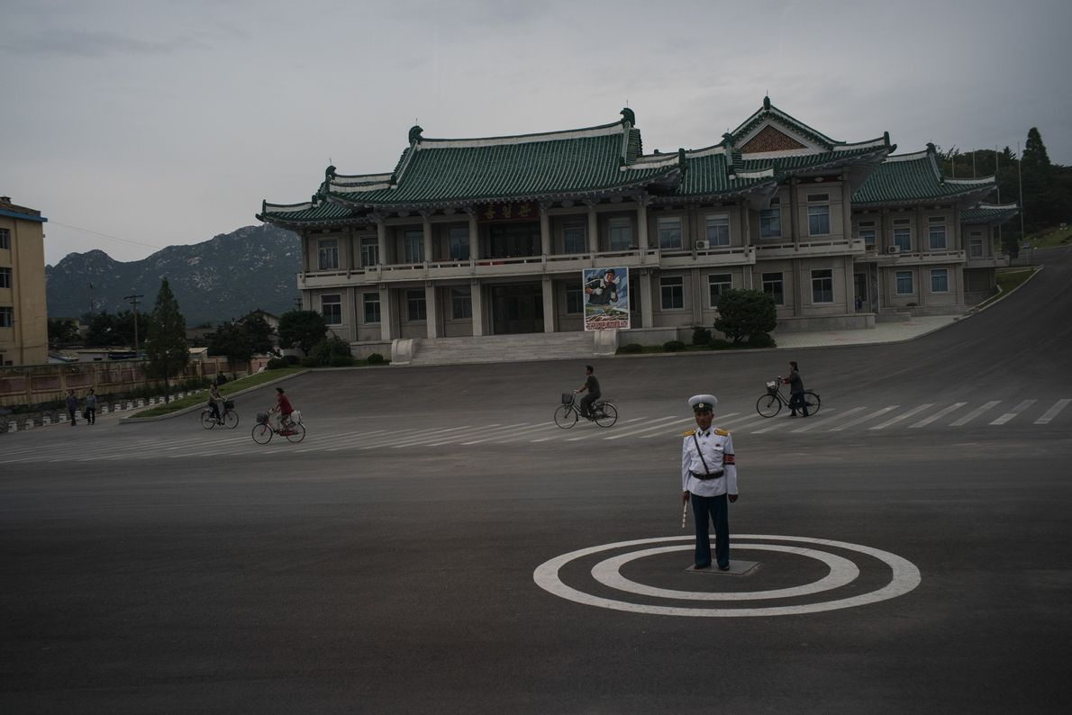 A traffic policeman in Kaesong, North Korea.