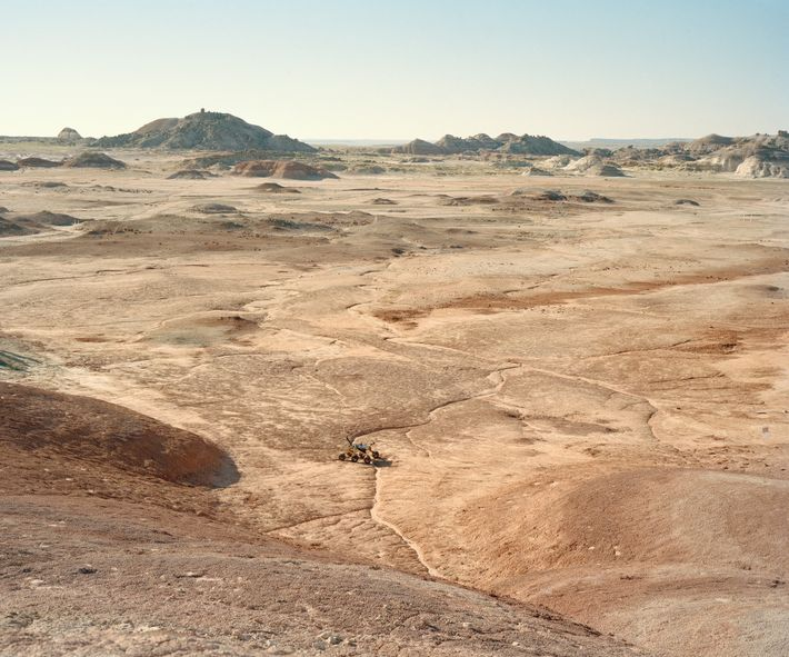 A rover traverses the desert during the University Rover Challenge held at the Mars Desert Research ...