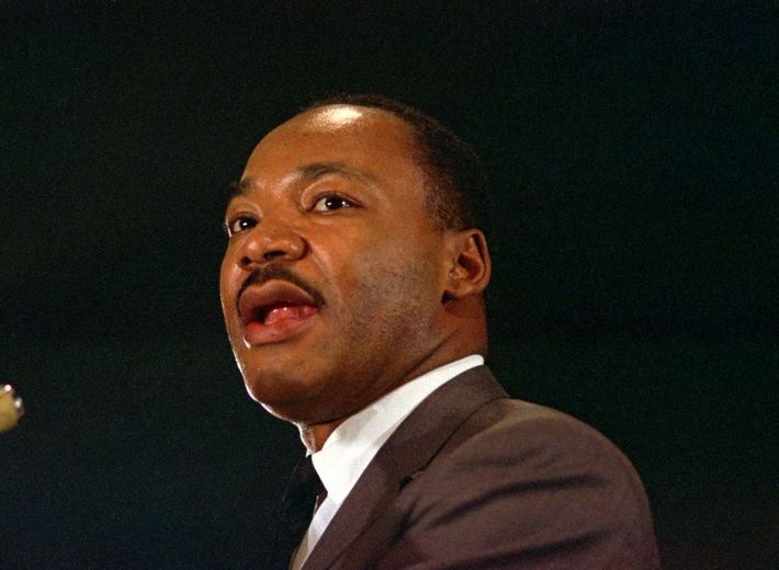 The Rev. Dr. Martin Luther King Jr. speaks April 15, 1967 at a peace rally in ...