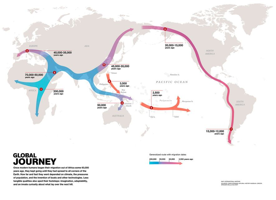 Modern humans migrated out of Africa over 60,000 years ago. This map shows their migration paths.