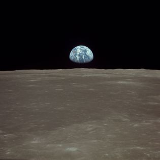 The view of Earth from the surface of the Moon during the Apollo 11 mission.