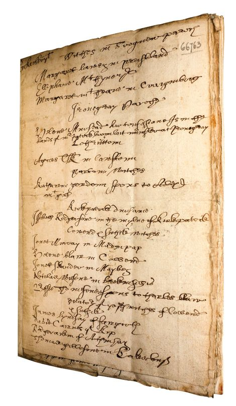 'Names of the Witches 1658' is a carefully compiled list of 114 people accused of witchcraft in the panic that started that year. The manuscript is held at the Wellcome Library in London and has recently been digitised, giving more people access to its contents.